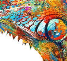 Colorful Iguana Art - One Cool Dude - Sharon Cummings Sticker