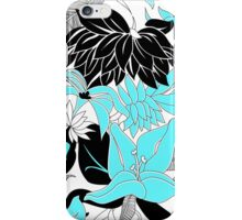Contour Hawaii Tropical Lily and Protea Floral - Aqua & Black iPhone Case/Skin