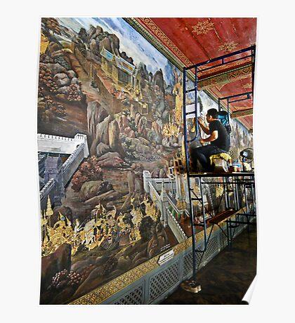 Murals at the Thai Royal Palace Poster