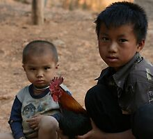 Boys playing with thier chicken by Daniel Murley