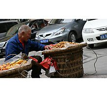 Chinese street vendor in Chongqing Photographic Print