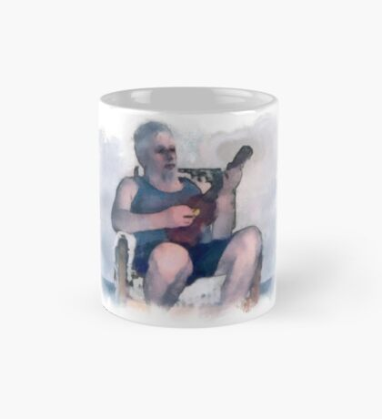 Self portrait playing ukulele. Mug