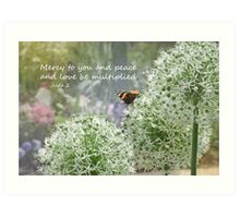 Allium flowers with butterfly and Bible verse of Jude 2 Art Print