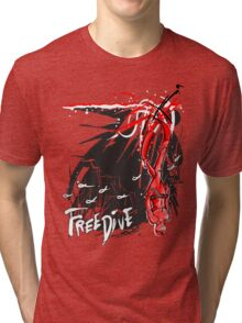 Freedive the Deep Blue - red abstract Tri-blend T-Shirt