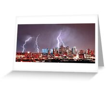 Denver Skyline Lightning Storm Greeting Card
