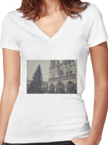 Paris Notre Dame Women's Fitted V-Neck T-Shirt