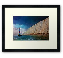 Beachy Head Lighthouse and Cliffs from the Sea Framed Print