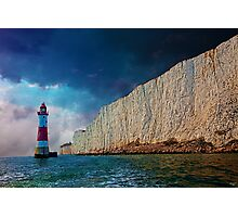 Beachy Head Lighthouse and Cliffs from the Sea Photographic Print