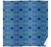 blue and lime stripes and squares Poster