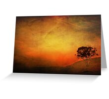 Sunset Textured Tree Landscape Greeting Card