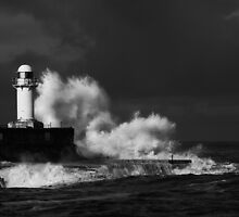 South Gare (Stormy) - B&W by PaulBradley