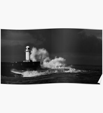 South Gare (Stormy) - B&W Poster