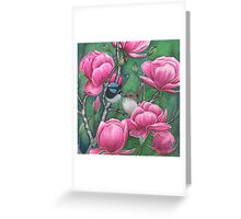 """Superb Blue Wren Couple with Magnolias"" Greeting Card"