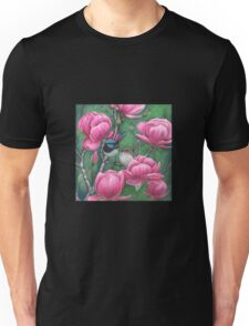 """Superb Blue Wren Couple with Magnolias"" Unisex T-Shirt"