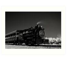 Flagg Coal Steam Engine BW IR 1 Art Print