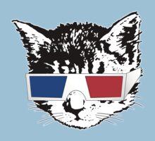 Cat in 3D (Maroon)   One Piece - Short Sleeve
