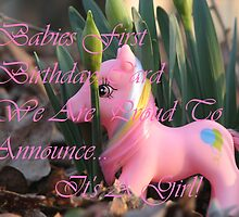 Babies First Birthday Card, Its A Girl!  Pink Princess Pony by ccwripage2