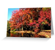 Red Trees by Lake Greeting Card