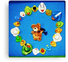 Benny Bear in Duck Blessing Circle, from above Canvas Print