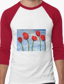 """Tulips are red, my love!""  Men's Baseball ¾ T-Shirt"