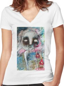 Abstract Portrait  Women's Fitted V-Neck T-Shirt