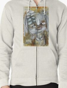 Abstract Portrait Zipped Hoodie