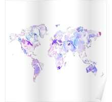 Purple Watercolor World Map Poster