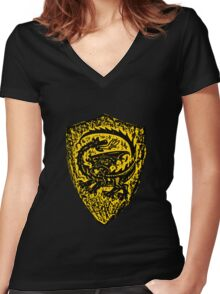 Shield up! Fear not, Medieval dragon shield t-shirt.  Women's Fitted V-Neck T-Shirt