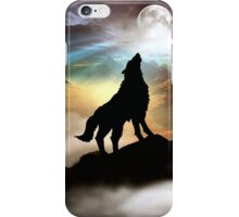 THE CANYON WOLF HOWLING AT THE FULL MOON iPhone Case/Skin