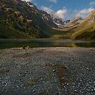 Reflected evening light, Lake MacKenzie, South Island, NZ by John Shortt-Smith