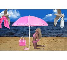 SOME BEACH...SOMEWHERE...ATTENTIVE SEAGULLS..PICTURE AND OR CARD Photographic Print
