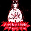 KUAN YIN - seated on Red Lotus by whittyart