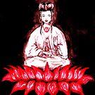 KUAN YIN - seated on Red Lotus by whittyart