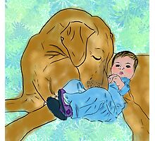 baby and dog Photographic Print