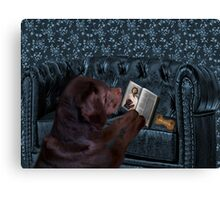 ASK THE ANIMALS AND THEY WILL TEACH U...CANINE READING BIBLE..WITH SCRIPTURE BISCUIT PICTURE,CARD,PILLOW,TOTE BAG ECT..HOW PRECIOUS.. Canvas Print