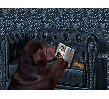 ASK THE ANIMALS AND THEY WILL TEACH U...CANINE READING BIBLE..WITH SCRIPTURE BISCUIT PICTURE,CARD,PILLOW,TOTE BAG ECT..HOW PRECIOUS.. Photographic Print