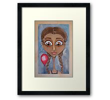Birthday Girl with Red Balloon Framed Print