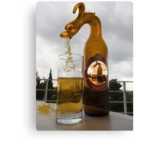 BROKEN GLASS SPILLED DRAGONS BEER PICTURE AND OR CARD Canvas Print