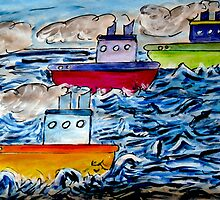 Sail Away Tugboats by Monica Engeler