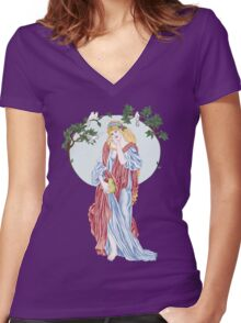 Pear Shaped Fruit Women's Fitted V-Neck T-Shirt