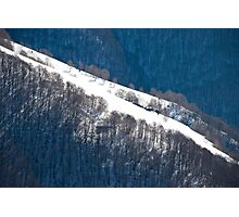Mountain huts in the snowy Italian Alps Photographic Print
