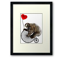 Sloth on Penny Farthing Velocipede with Heart Balloon Framed Print