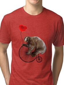 Sloth on Penny Farthing Velocipede with Heart Balloon Tri-blend T-Shirt