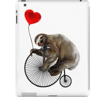 Sloth on Penny Farthing Velocipede with Heart Balloon iPad Case/Skin