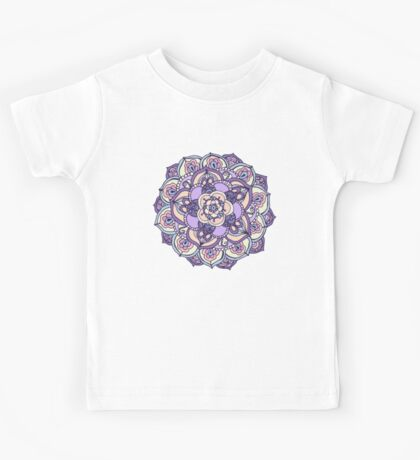 Aqua, Pink and Purple Doodled Pattern Kids Tee