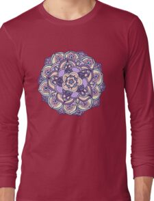 Aqua, Pink and Purple Doodled Pattern Long Sleeve T-Shirt