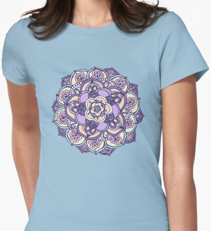 Aqua, Pink and Purple Doodled Pattern Womens Fitted T-Shirt