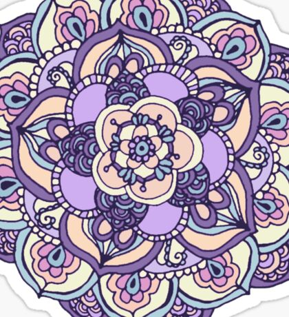 Aqua, Pink and Purple Doodled Pattern Sticker