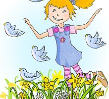 Spring in the air whimsical girl by Sarah Trett