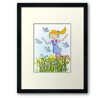 Spring in the air whimsical girl Framed Print